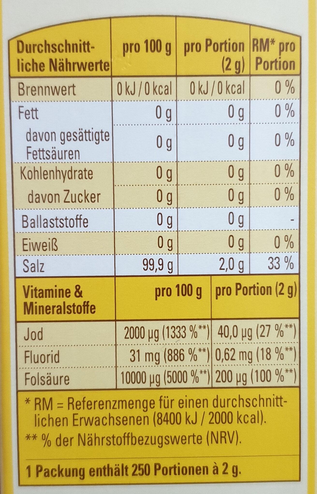 Jod Salz - Informations nutritionnelles - de