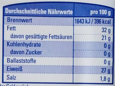 Bergkäse in Scheiben - Informations nutritionnelles