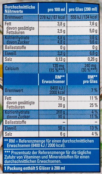 Vollmilch / Lait écrémé 3.8% - Nutrition facts