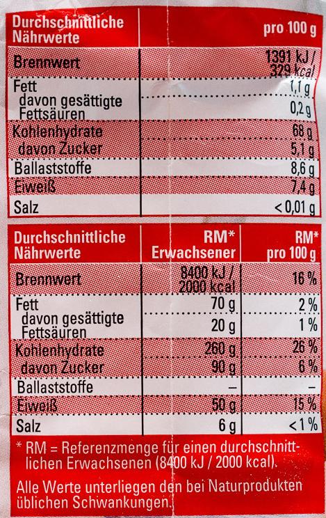 Roggenmehl Type 997 - Informations nutritionnelles - de