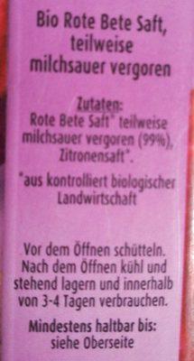 Rote Bete Saft 100% Direktsaft, Bio - Ingrédients