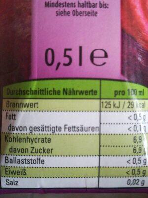 Rote Bete Saft 100% Direktsaft, Bio - Informations nutritionnelles