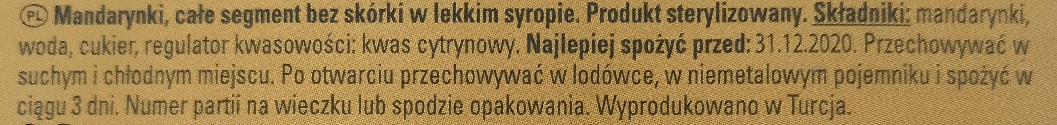 Mandarynki, całe segment bez skórki w lekkim syropie. - Składniki - pl