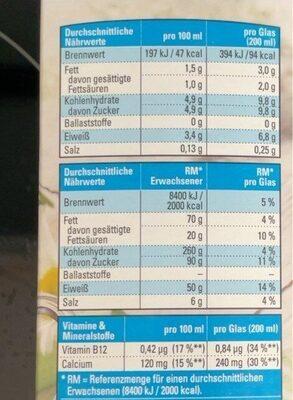 Frische Milch - Valori nutrizionali - de