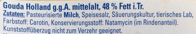 Gouda Holland g.g.A mittelalt - Ingrediënten - de