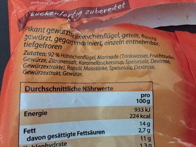 Chicken Wings Tiefkühl - Ingredients