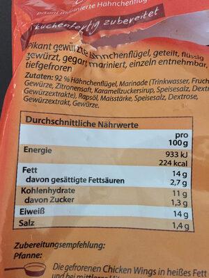 Chicken Wings Tiefkühl - Nutrition facts