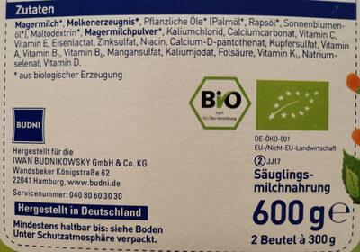 Bio Anfangsmilch 1 - Ingredients