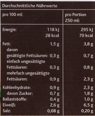 Sojadrink Natur - Nutrition facts