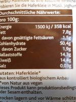 Bio Haferkleie - Nutrition facts - de
