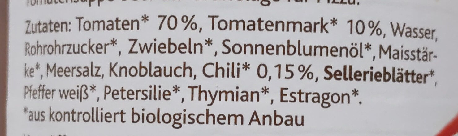 Tomatensauce Arrabbiata - Ingrédients