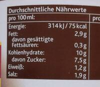 Tomatensauce Arrabbiata - Informations nutritionnelles