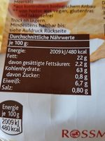 Tortilla chips Natur - Informations nutritionnelles