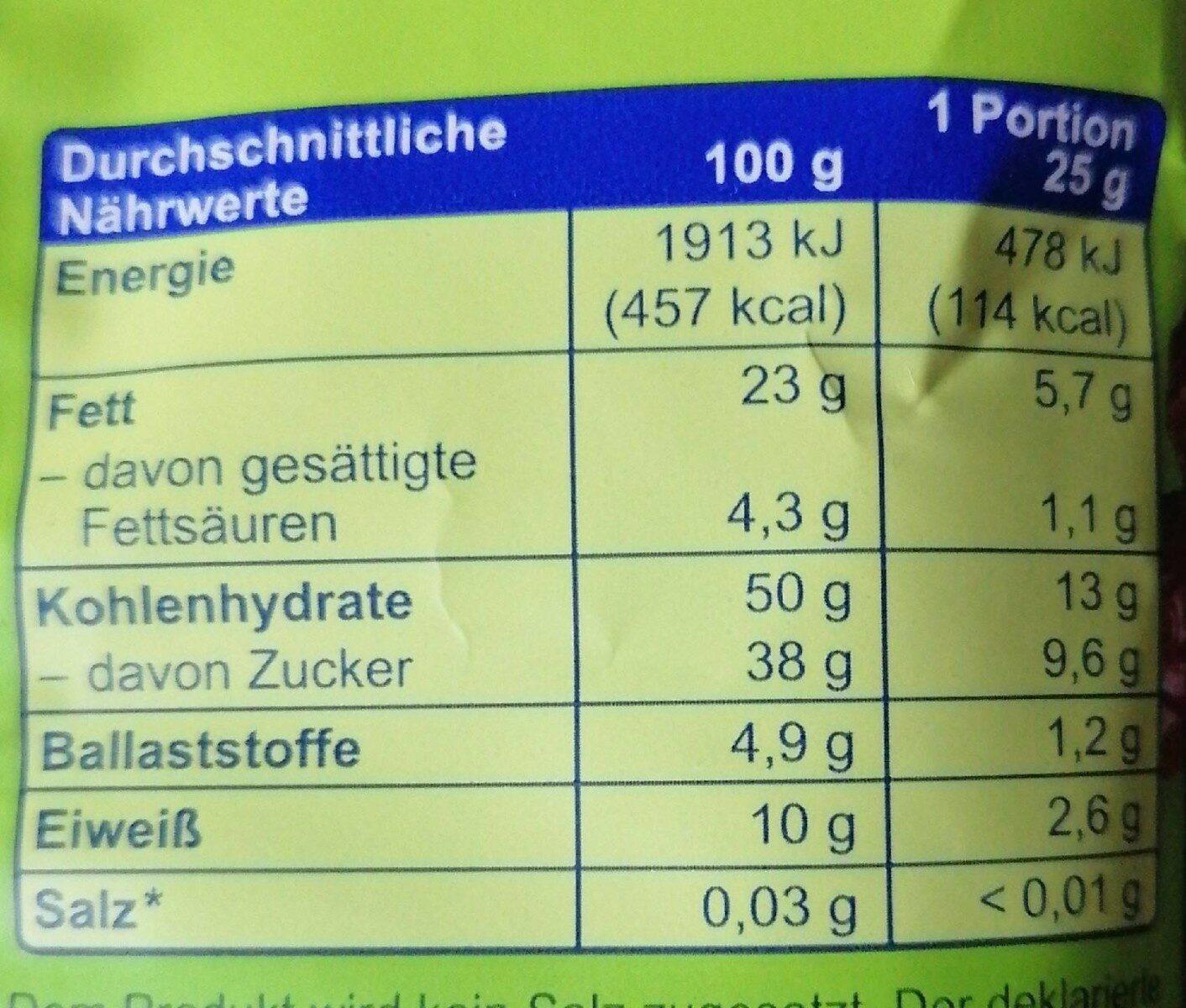 Cashew-Cranberry-Mix - Nährwertangaben - de