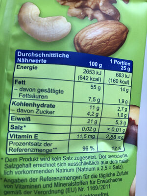 Edel-Nuss-Mix - Nutrition facts - de