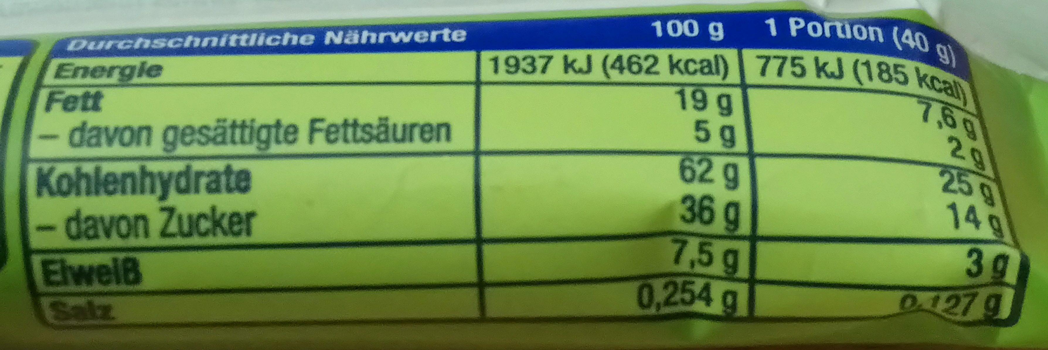 Nuss-Frucht-Riegel Erdnuss & Cranberry - Nutrition facts