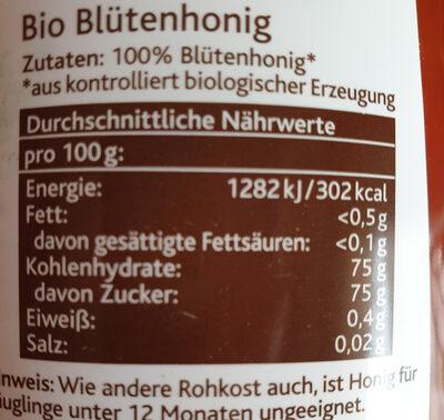 Miel de nectar bio - Nutrition facts - fr