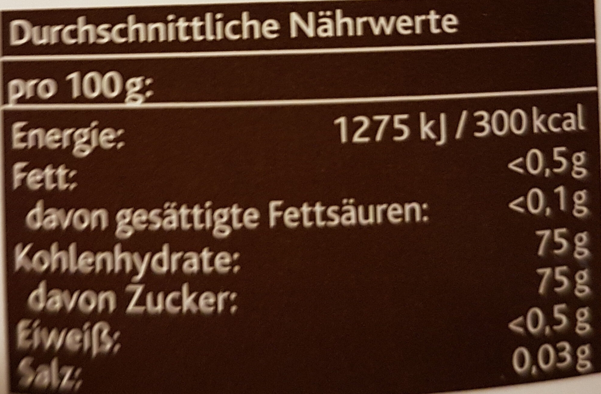 Agavendicksaft - Nutrition facts - de