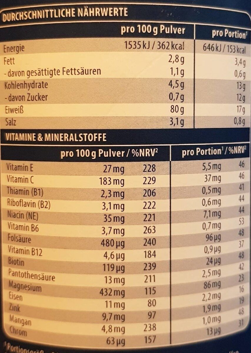 Veganes Protein - Nutrition facts - en