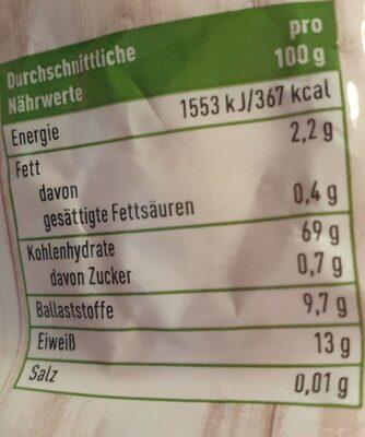 Dinkel Flakes - Valori nutrizionali - en