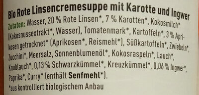 Rote Linsen Cremesuppe - Ingredients