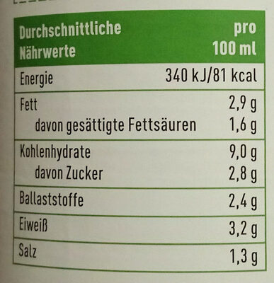 Rote Linsen Cremesuppe - Nutrition facts
