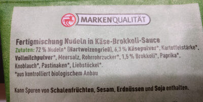 Nudeltasse Kaese & Brokkoli - Ingredienti - de