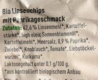 Linsen Chips mit Paprika - Zutaten - de