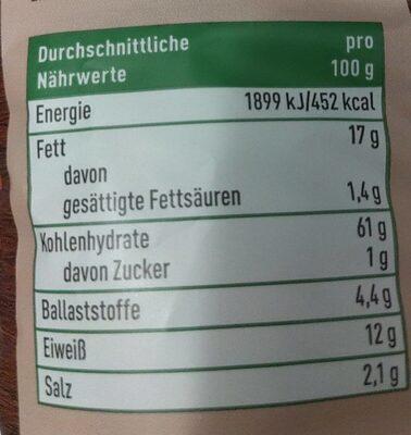 Linsen Chips mit Paprika - Nährwertangaben - de