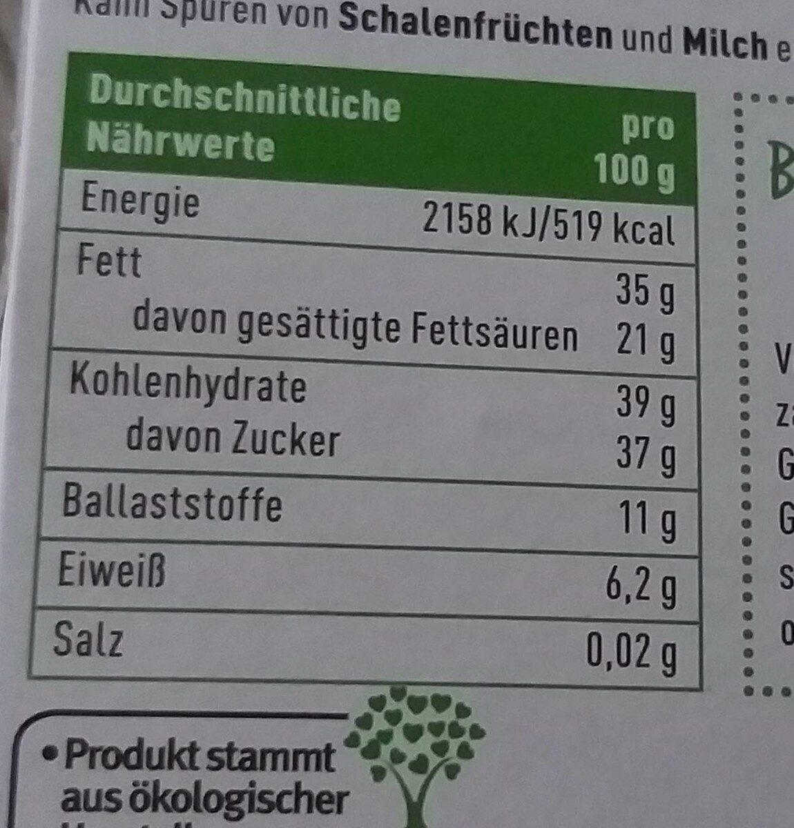 Ganze Himbeeren in Zartbitterschokolade - Valori nutrizionali - de