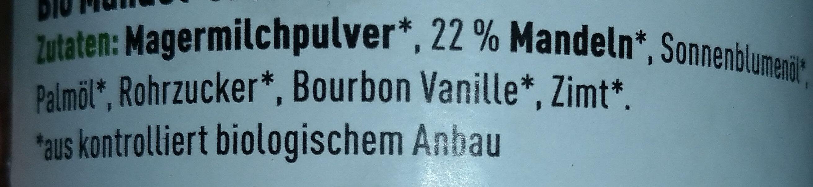 Mandel Creme - Ingredients