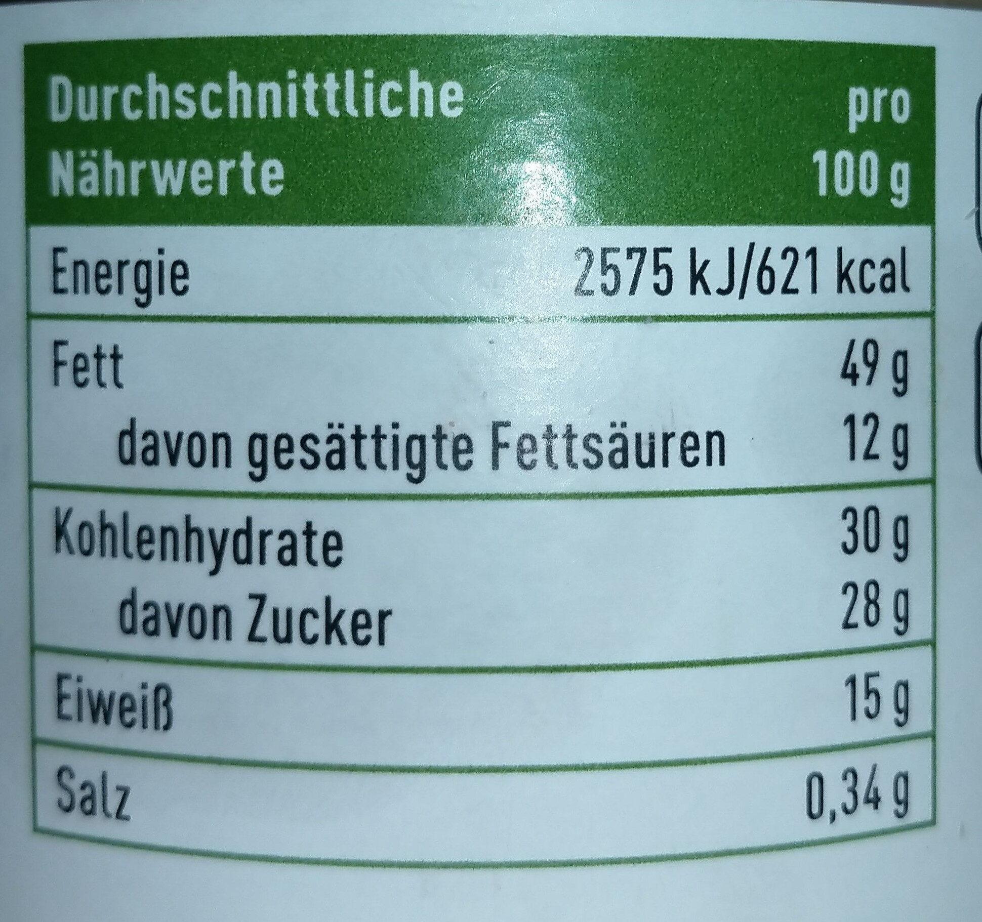 Mandel Creme - Nutrition facts