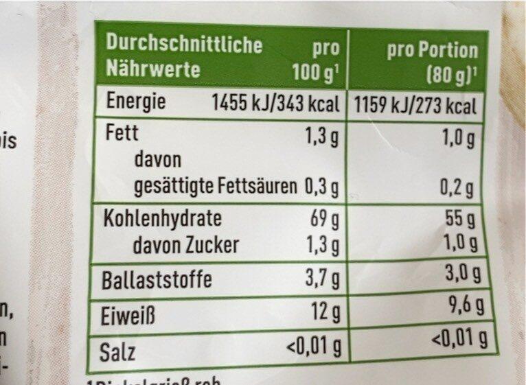 Dinkel Grieß - Nährwertangaben - de