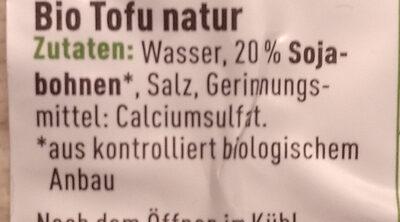Ener Bio Tofu Natur - Zutaten - de