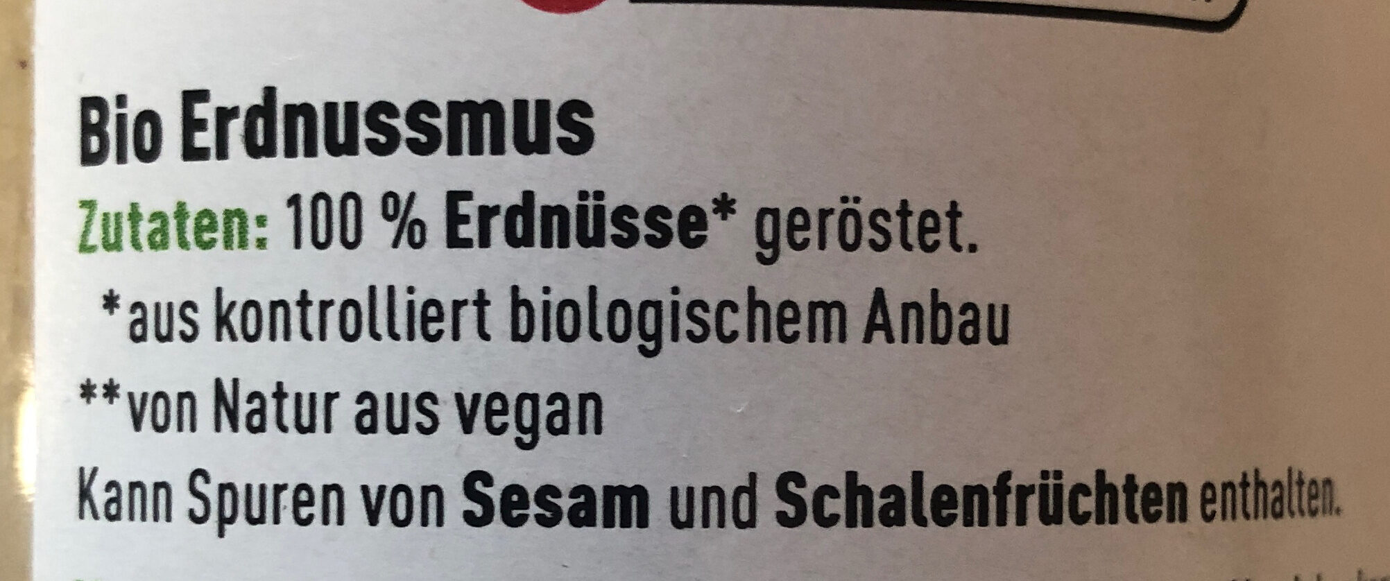 Erdnussmus - Ingredients