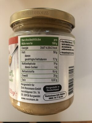 Erdnussmus - Nutrition facts
