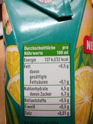 Eistee Zitrone Ingwer - Nutrition facts