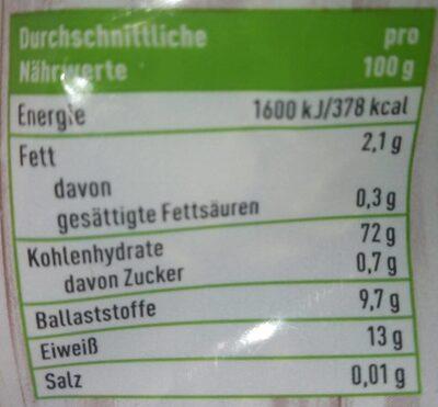 Dinkel Flakes - Valori nutrizionali - de