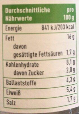 Vegane Streichwurst - Nährwertangaben - de