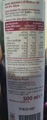 Balsamico Essig / Vinaigre balsamique - Nutrition facts