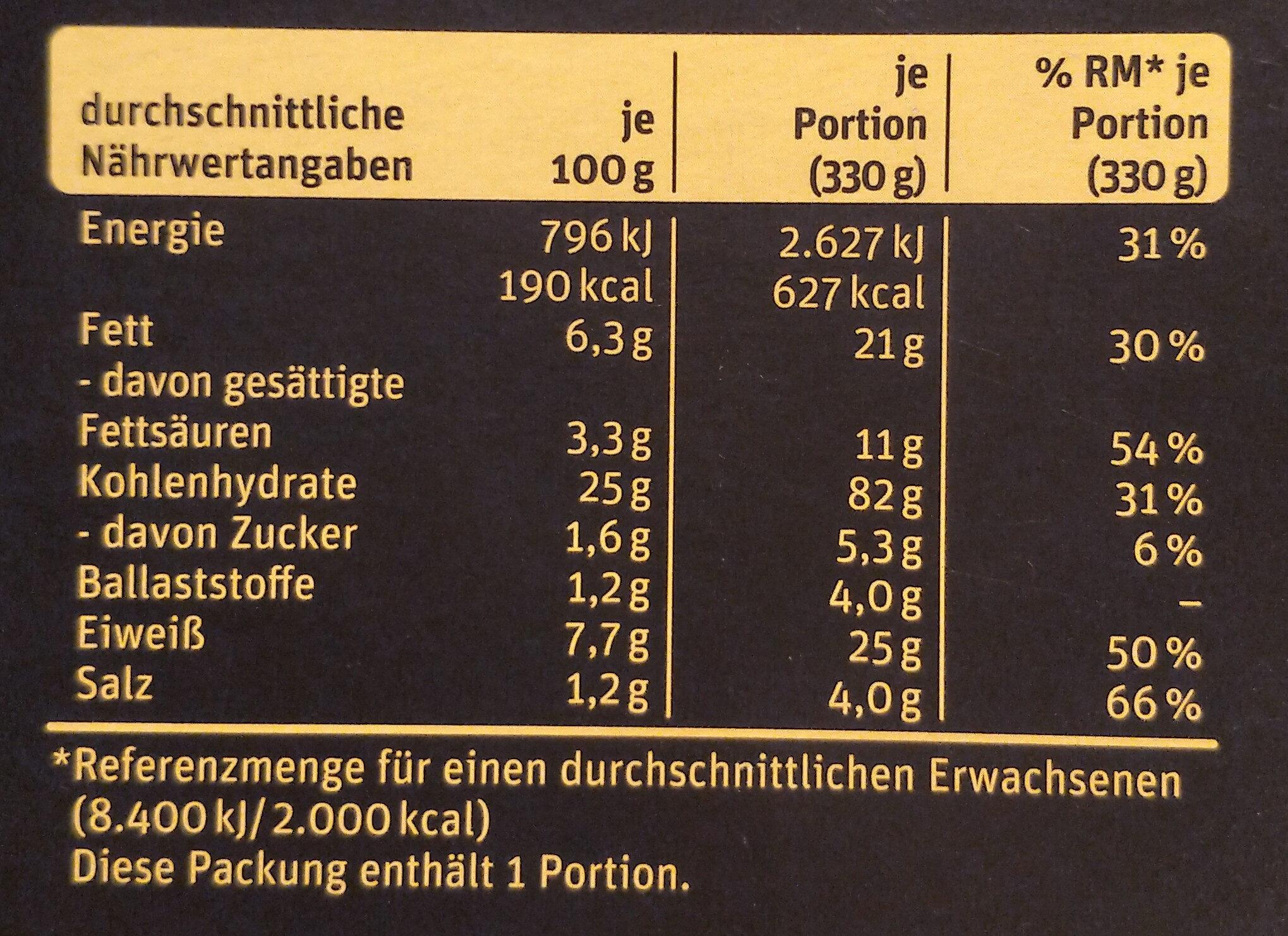Manufaktur-Steinofenpizza Bufala - Nutrition facts