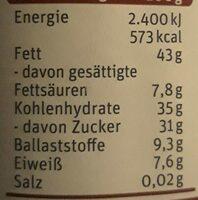 Zartbitter Aufstrich - Informazioni nutrizionali - de