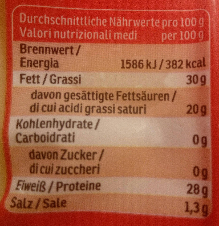 Emmentaler - Nutrition facts - de