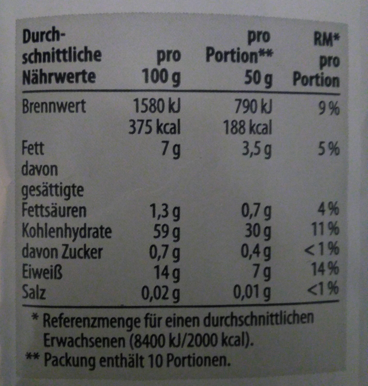 Haferflocken - Voedingswaarden - en