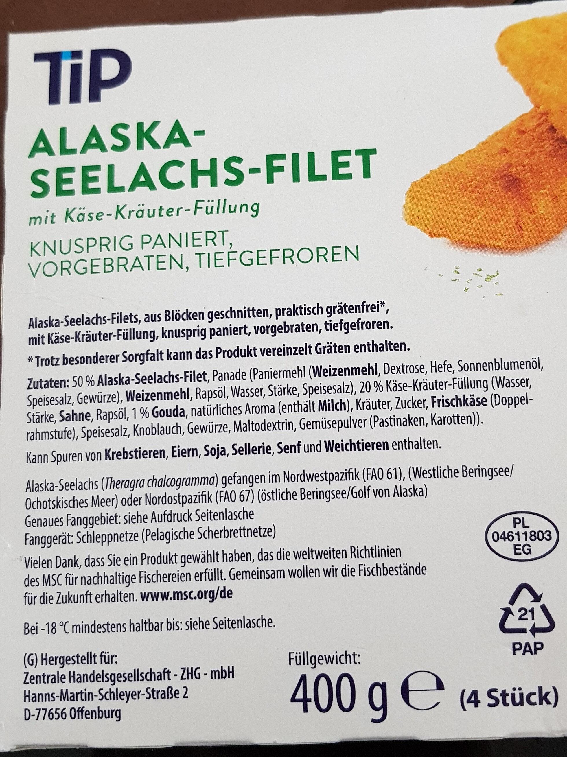 Alaska-Seelachs-Filet mit Käse-Kräuter-Füllung - Ingredients - de