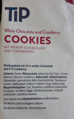 White Chocolate and Cranberry COOKIES - Inhaltsstoffe - de
