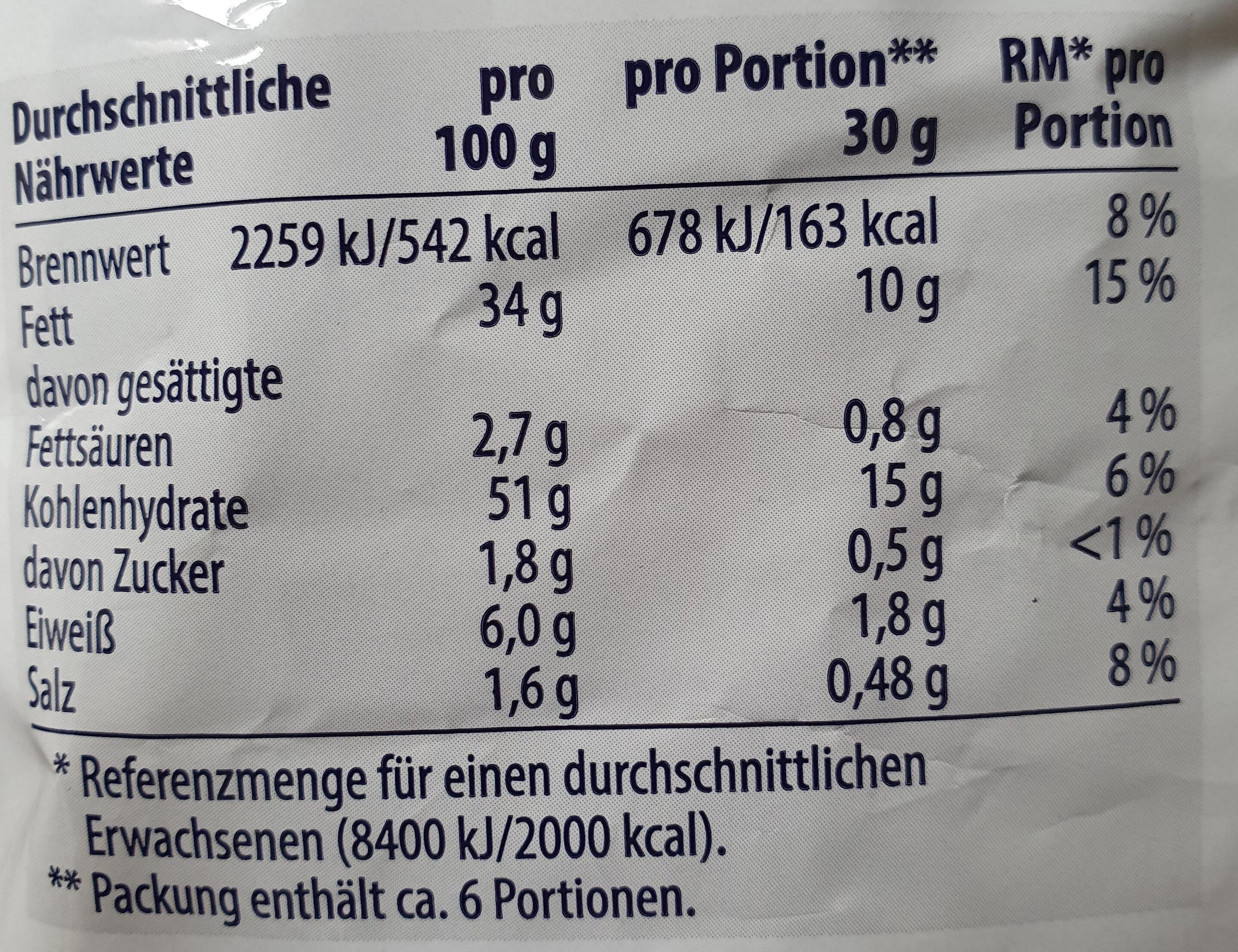 RIFFEL-CHIPS Paprika - Nutrition facts - de