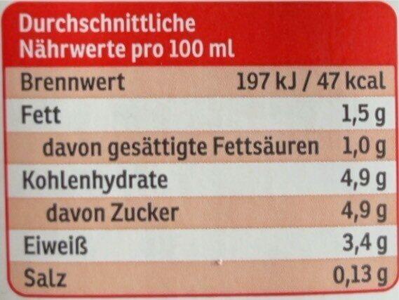 Fettarme H-Milch - Nutrition facts - de