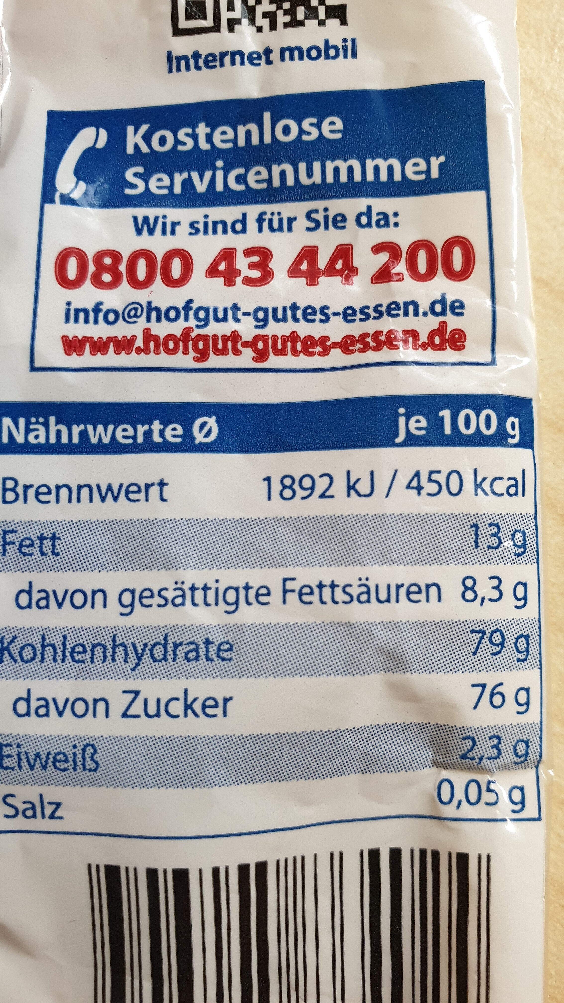 Schokolinsen - Informations nutritionnelles - de
