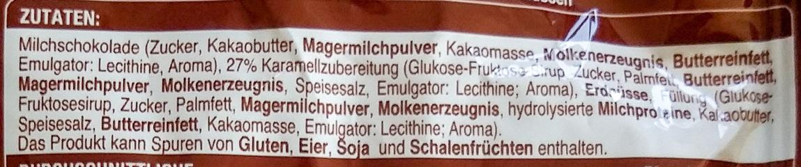 Erdnuss Schokoriegel Mini - Ingredients